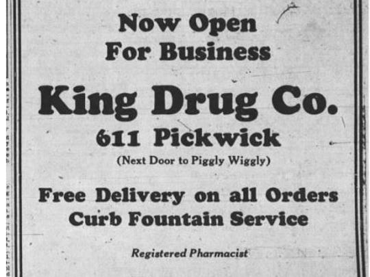 An ad for the King Drug Company which ran in the Springfield LEader on March 20, 1927.