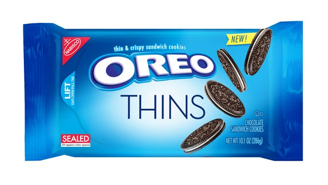 "This product image provided by Mondelez shows the packaging design for ""Oreo Thins."""
