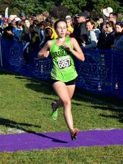 Katie Harmeyer adds to the list of top 10 Ursuline finishers in the varsity girls run at the 2017 GCL/GGCL Cross Country Championships, Oct. 14.