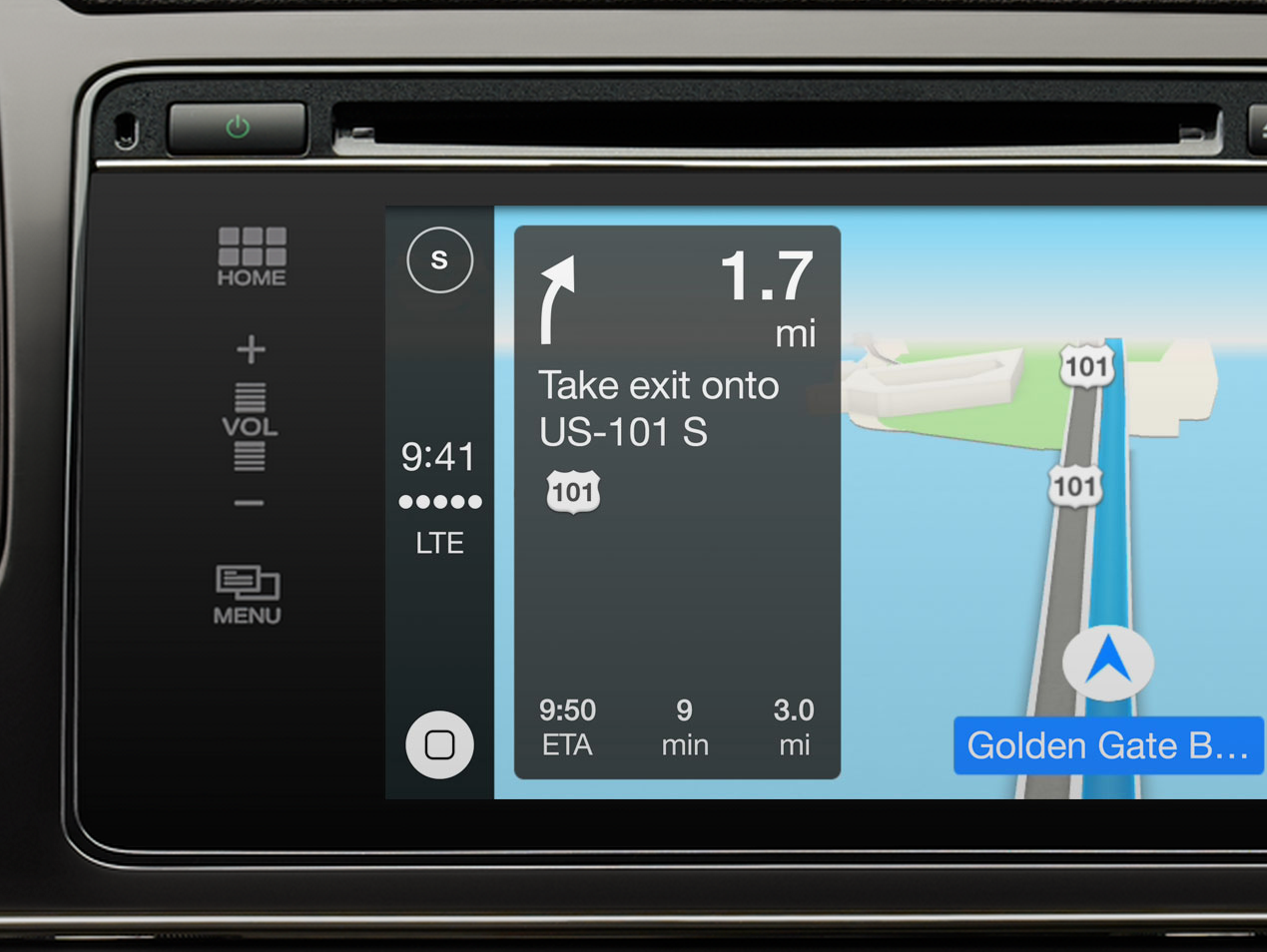 CarPlay dashboard, Apple's entertainment system for new cars.