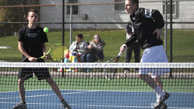 Cousins Brent, left, and Luke Webster won in straight sets at No. 1 doubles to help Lexington blank Ohio Cardinal Conference rival Ashland.