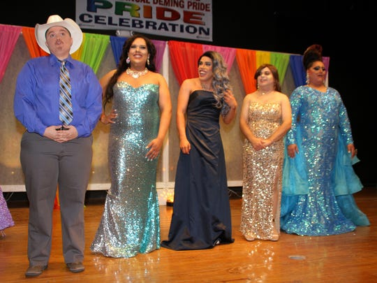 The Deming Pride Sashes Pageant contestants for 2017 were, from left, Paxton Sin-Claire, Barbi, Crystal, La Diva and Vivika D'Angelo Steele.