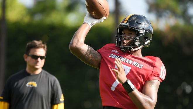 Southern Miss quarterback Kwadra Griggs throws the ball during the teams second week of fall camp on Tuesday, August 7, 2018.