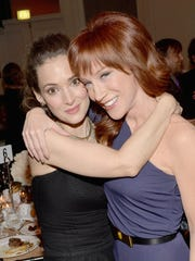 Actors Winona Ryder and Kathy Griffin attend the 13th Annual AARP's Movies for Grownups Awards Gala in 2014 in Beverly Hills, Calif.