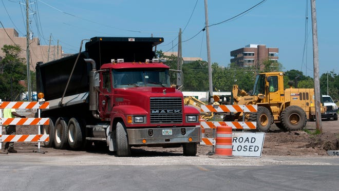 Work continues on Wednesday, May 10, 2017, at Corinne Jones Park on West Government Street in Pensacola.