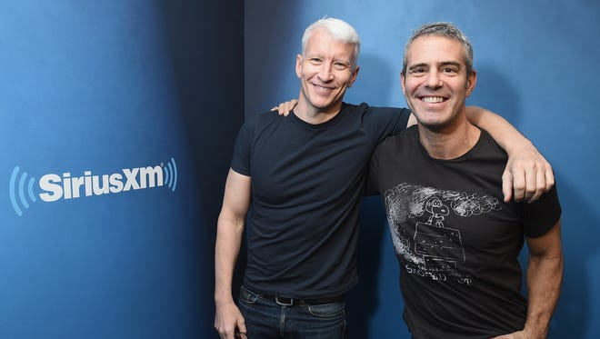 Anderson Cooper (left) and Andy Cohen pose at Sirius XM Studios on Jan. 13, 2017, in New York City.