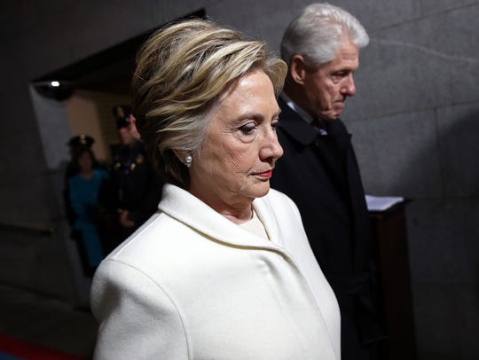 The Clintons arrive on the West Front of the U.S. Capitol