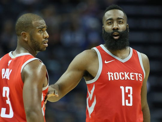 Superstars Chris Paul and James Harden will be teaming up for the Houston Rockets this season.