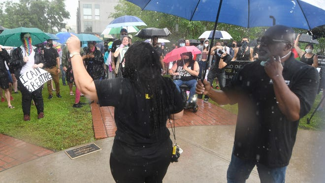 Sonya Patrick speaks during a protest to show support for George Floyd at the 1898 Memorial Park in downtown Wilmington, N.C, Saturday, May 30, 2020. Black Lives Matter and the New Hanover County chapter of the National Black Leadership Caucus organized the event.