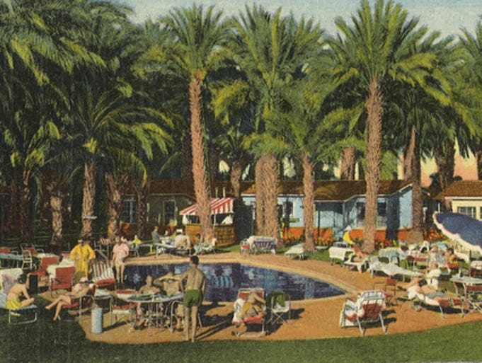 Wonder Palms Resort: This postcard, mailed to Los Angeles in 1952, shows the Wonder Palms Guest Ranch, a cluster of bungalows, hidden in a field of date palms, along Highway 11 in what is now Rancho Mirage.  Postcard provided by Noela Lara, of Rancho Mirage.