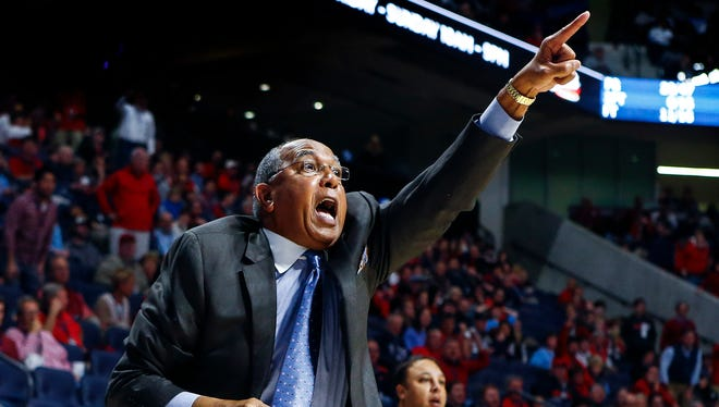 University of Memphis head coach Tubby Smith screams for a 30-second shot clock reset during a second half action against Ole Miss at The Pavilion in Oxford, Mississippi.