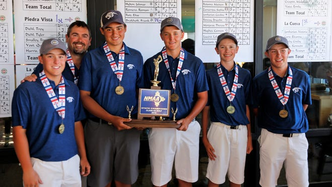 After coming up just short last year, the Piedra Vista boys golf team won its first-ever state title Tuesday at Piñon Hills Golf Course in Farmington. It's also the school's first-ever 6A state title for any sport.