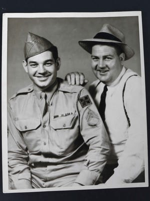 """United States Army soldier Elmer """"Curly"""" Richardson, left."""
