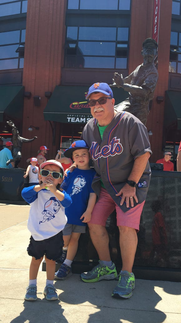 Outside Busch Stadium Sunday in St. Louis with two of my little Mets fans.