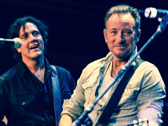 Marc Ribler and Bruce Springsteen on stage at the Paramount