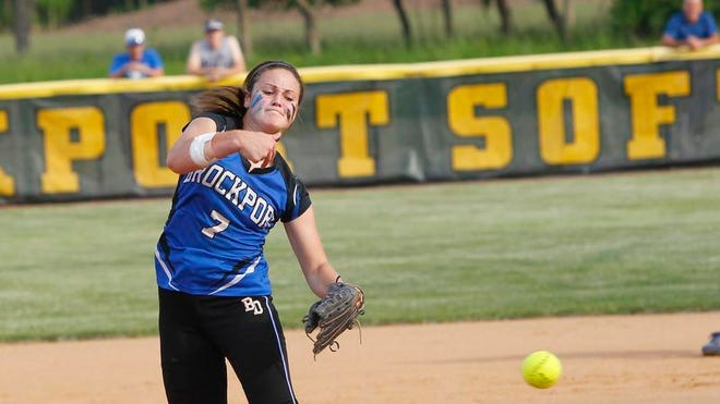 Brockport's Julia DiMartino pitches during Class AA2 championship softball action between the Brockport Blue Devils and the Greece Athena Trojans at SUNY Brockport Friday evening, May 31, 2013. Brockport won the title with a 2-0 shutout over Greece Athena.