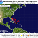 Five-day weather outlook for a tropical wave in the Caribbean.