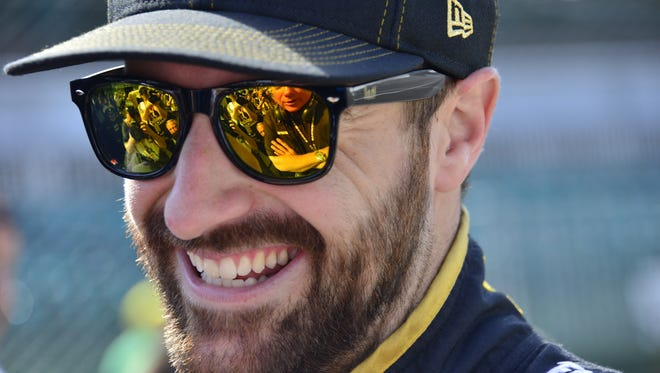 James Hinchcliffe prior to practicing on Carb Day, the final day of practice for the Indianapolis 500 at the Indianapolis Motor Speedway, Friday, May 27th, 2016.