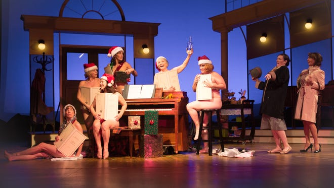 The cast of 'Calendar Girls' perform with strategically placed props.