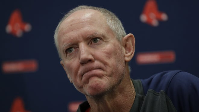 Ron Roenicke speaks after being after being named interim of the Boston Red Sox baseball team Tuesday, Feb. 11, 2020, in Fort Myers, Fla. Roenicke is confident that the Red Sox will have full attendance of players when they return to Fenway Park July 1.