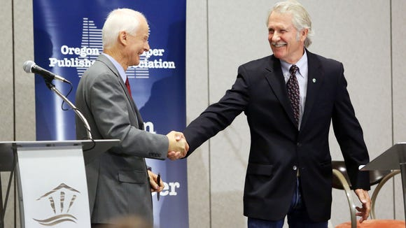 Neither Rep. Dennis Richardson, left, nor Gov. John Kitzhaber has received money from public employee unions in 2014.   SJ file Rep. Dennis Richardson, R-Central Point, left, and Democratic Gov. John Kitzhaber shake hands after meeting on July 18 in their first debate during the annual Oregon Newspaper Publishers Association convention.  KOBBI R. BLAIR / Statesman Journal file Rep. Dennis Richardson left, and Democratic Gov. John Kitzhaber shake hands after their first debate Friday.   KOBBI R. BLAIR / Statesman Journal Rep. Dennis Richardson, R-Central Point, left, and Democratic Gov. John Kitzhaber shake hands after meeting on Friday, July 18, 2014 in their first debate of the campaign season during the annual Oregon Newspaper Publishers Association convention, where they were quizzed by a panel of five newspaper editors, publishers and reporters.