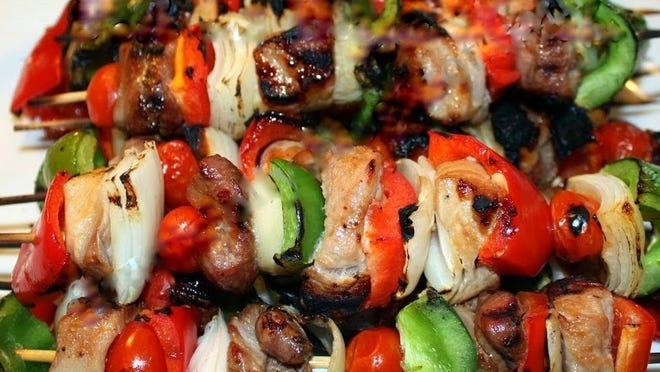 Pork and Veggie Kebabs.