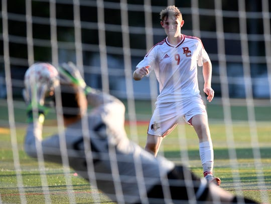 Bergen Catholic's Jack Carroll #9 watches as his penalty