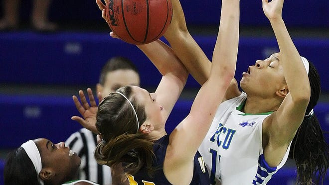 Whitney Knight, right, scored 27 points to lead FGCU past Cal State Northridge, 73-64, on Sunday.