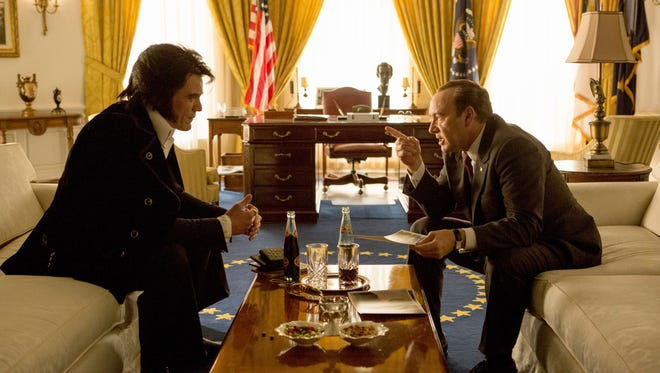 """""""Elvis & Nixon"""" imagines what went down when the king (Michael Shannon) met the president (Kevin Spacey) in 1971."""