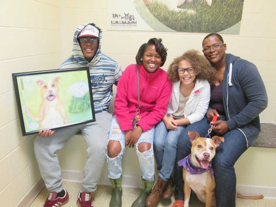 Diamond, an 8 year old pitbull, was adopted on National