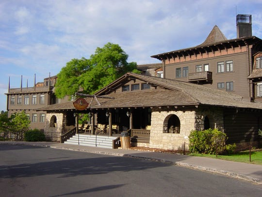 National Park Service El Tovar hotel, designed by Charles Whittlesey to resemble a Swiss chalet, opened it doors on the Grand Canyon's South Rim in 1905.