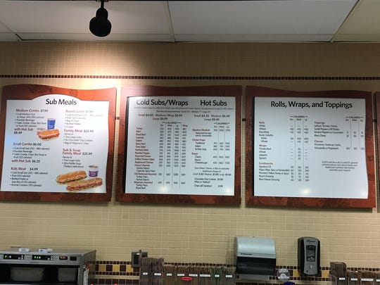 The menu board at Wegmans in Ocean Township, showing
