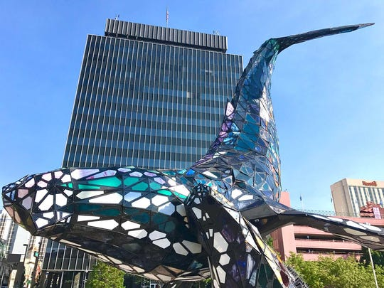 """The """"Space Whale"""" sculpture in downtown Reno will be dedicated Friday, Aug. 18, 2017."""