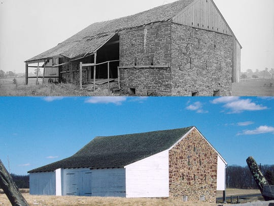 Images of the McPherson barn on the Gettysburg battlefield, early 20th century (above) and early 21st century