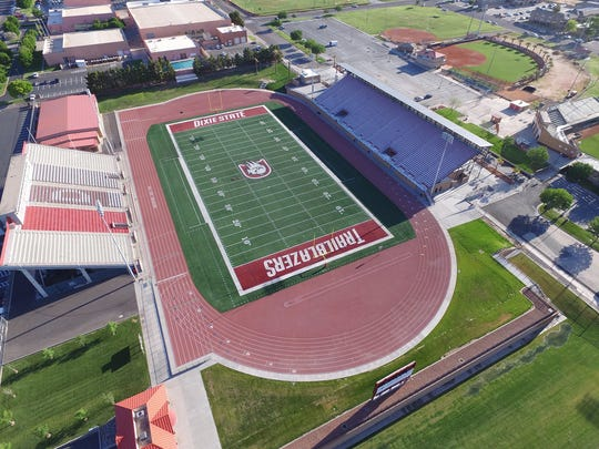 An aerial view of the Trailblazer Stadium.