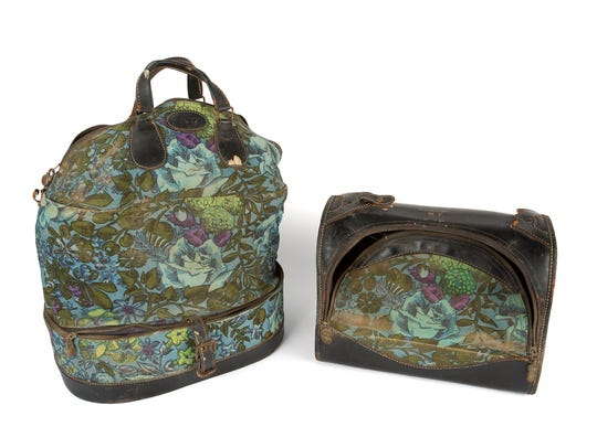 Two floral canvas and leather bags owned by the late