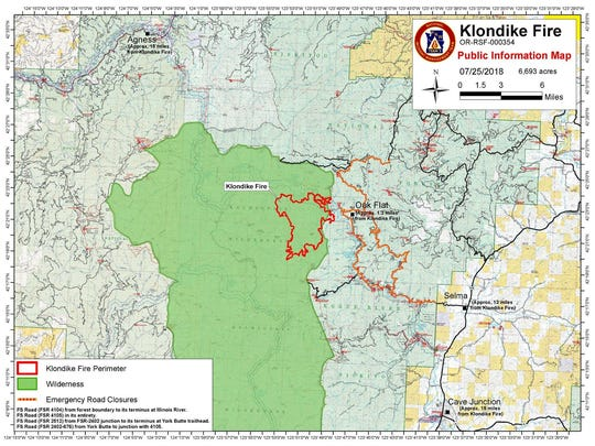 Latest map of the Klondike Fire in the Kalmopsis Wilderness.