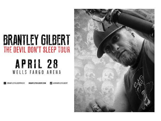 Enter to win 2 tickets to Brantley Gilbert's 2017 tour The Devil Don't Sleep at Wells Fargo Arena 4/28!