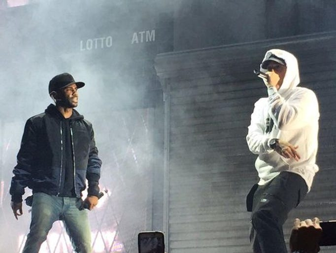 Eminem (right) joins Big  Sean on stage at the end