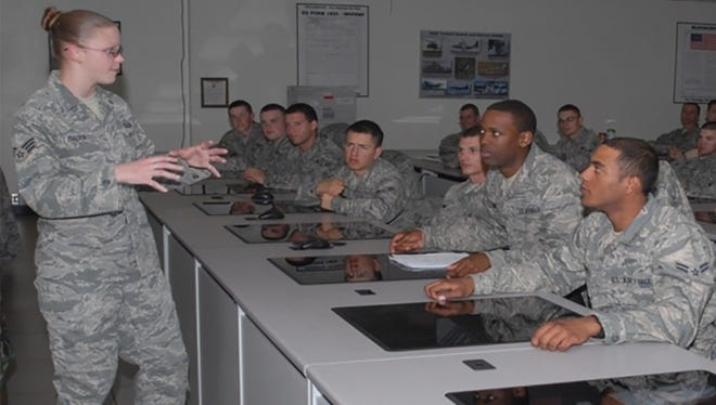 Service members receive linguistics training at Goodfellow Air Force Base.