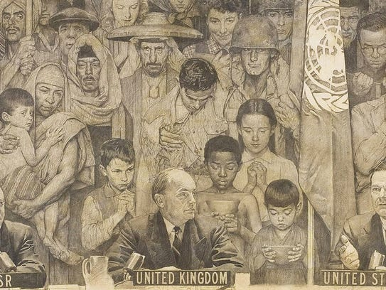 "A portion of Normal Rockwell's ""United Nations"""