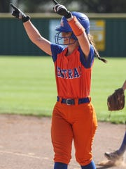 Central's Megan DiCenzo celebrates making it safely to first base against Copperas Cove on April 4. The Lady Cats will take on South Grand Prairie on Thursday and Friday in their first-ever playoff series.