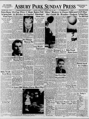 Front page of the Asbury Park Press on July 13, 1947. One of the lead stories attempts to offer a rational explanation for a rash of UFO sightings all over the United States and at the Jersey Shore.