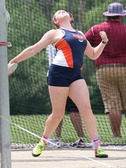 Galion's Briana Streib competes in the discus throw at the D-II regional meet at Lexington High School on Saturday.