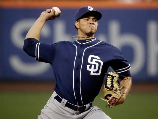San Diego Padres starting pitcher Dinelson Lamet delivers a pitch during the first inning of a baseball game against the New York Mets Thursday, May 25, 2017, in New York. (AP Photo/Frank Franklin II)