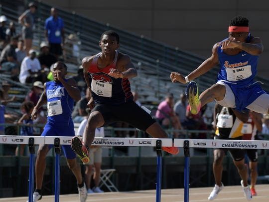 Jun 24, 2017; Sacramento, CA, USA; Quincy Hall (right) and Cory Poole place first and second in the junior 400m hurdles in 49.51 and 49.88 during the USA Track and Field Championships at Hornet Stadium. Mandatory Credit: Kirby Lee-USA TODAY Sports