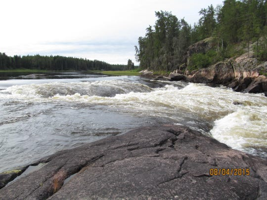 Day 19: The Sasaginnigak River flows over Chap Falls.