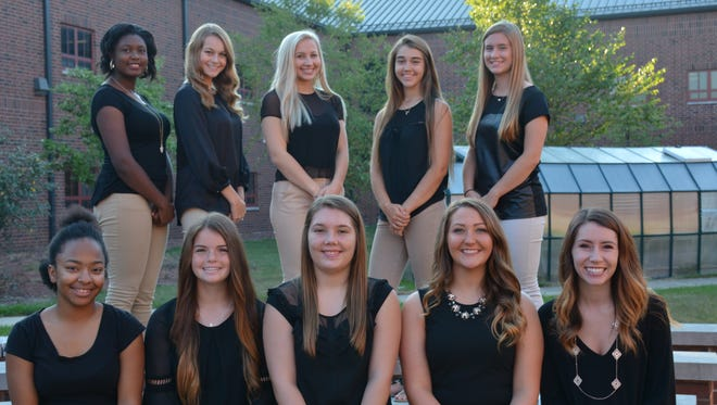 The 2017 Harding High School Homecoming Queen will be crowned at half-time during the Harding vs. North Union homecoming game Friday, Oct. 6. The Homecoming Court includes, from left, front, areSequoyah Thompson, Maya Bisignano, Katlyn Large, Shelbi Martin andRichelle Millhouse; and back,Alecea Rucks, Kelsey Montgomery, Hope Meddings, Julia Martin andMarlena Stimson.