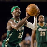 Bighorns forward Mo Charlo shoots against the Springfield Armor during a D-League Showcase game on Jan. 8 at the Reno Events Center.
