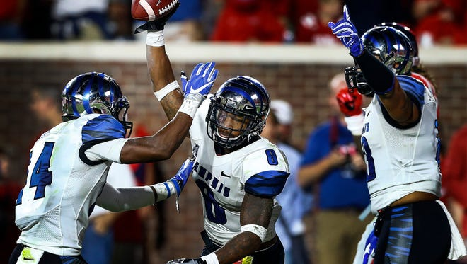 October 1, 2016 - University of Memphis defender Arthur Maulet (middle) celebrates an interception against Ole Miss during action at Vaught-Hemingway Stadium in Oxford, Miss.